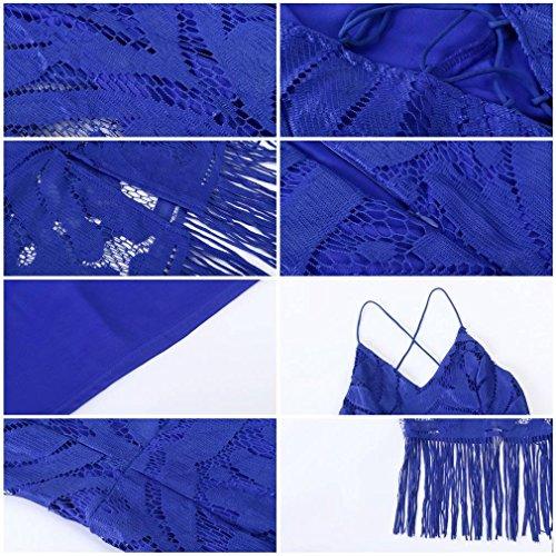 Femmes Yiyilai Pompons Sangle Cami Croisées Dans Le Dos Bandage Dentelle Robe Midi Bleu
