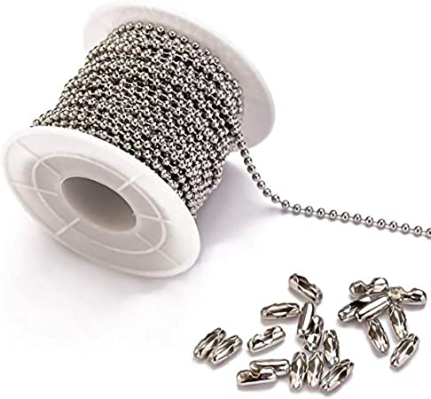10cm Silver IPOTCH Pack of 10 Stainless Steel Ball Bead Chain Necklace 6 Sizes