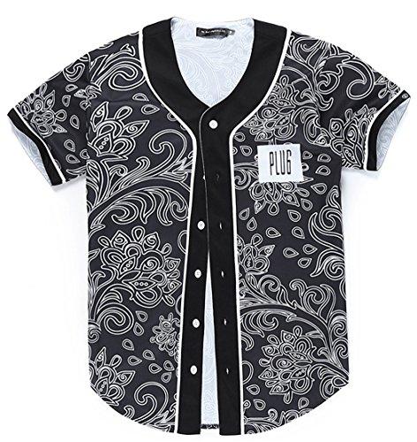 Jersey Fashion Baseball - HOP FASHION Youth Unisex Boy Girl Baseball Jersey Short Sleeve 3D Floral Print Dance Team Uniform Tops Shirt HOPM007-14-L