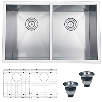 Ruvati RVH7350 Undermount 16 Gauge Kitchen Sink Double Bowl, 30u0026quot;,  Stainless Steel