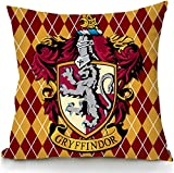 Nordic Souvenirs Harry Potter Style Pillow Cover - Gryffindor - Hogwarts Slytherin Ravenclaw Hufflepuff School Sign Pillowcase in Soft Velvet - Two Sides Printed Cushion Case - 18x18 inch
