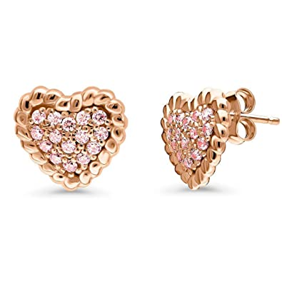 3022b9097557 Buy Silver Star Gems Jewellery 14K Rose Gold Finish Round Cut Simulated Pink  Diamond Heart Cable Stud Earring Online at Low Prices in India