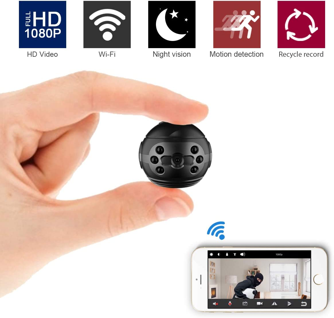 ZXWDDP Mini Spy Camera Wireless Hidden 1080P Portable Security Mini WiFi Camera with Infrared Night Vision Motion Detection Function is Suitable for Home Office Store Car Security Monitoring