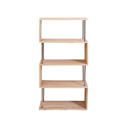 Mobili Rebecca Scaffale Libreria 4 Ripiani Legno Naturale Design ...