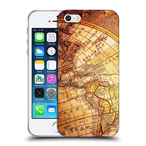 Super Galaxy Schutz Hülle TPU Case Schutzhülle Silikon Tasche Dünn Transparent // V00002417 Vintage-Kompass auf antiken Weltkarte // Apple iPhone 5 5S 5G SE
