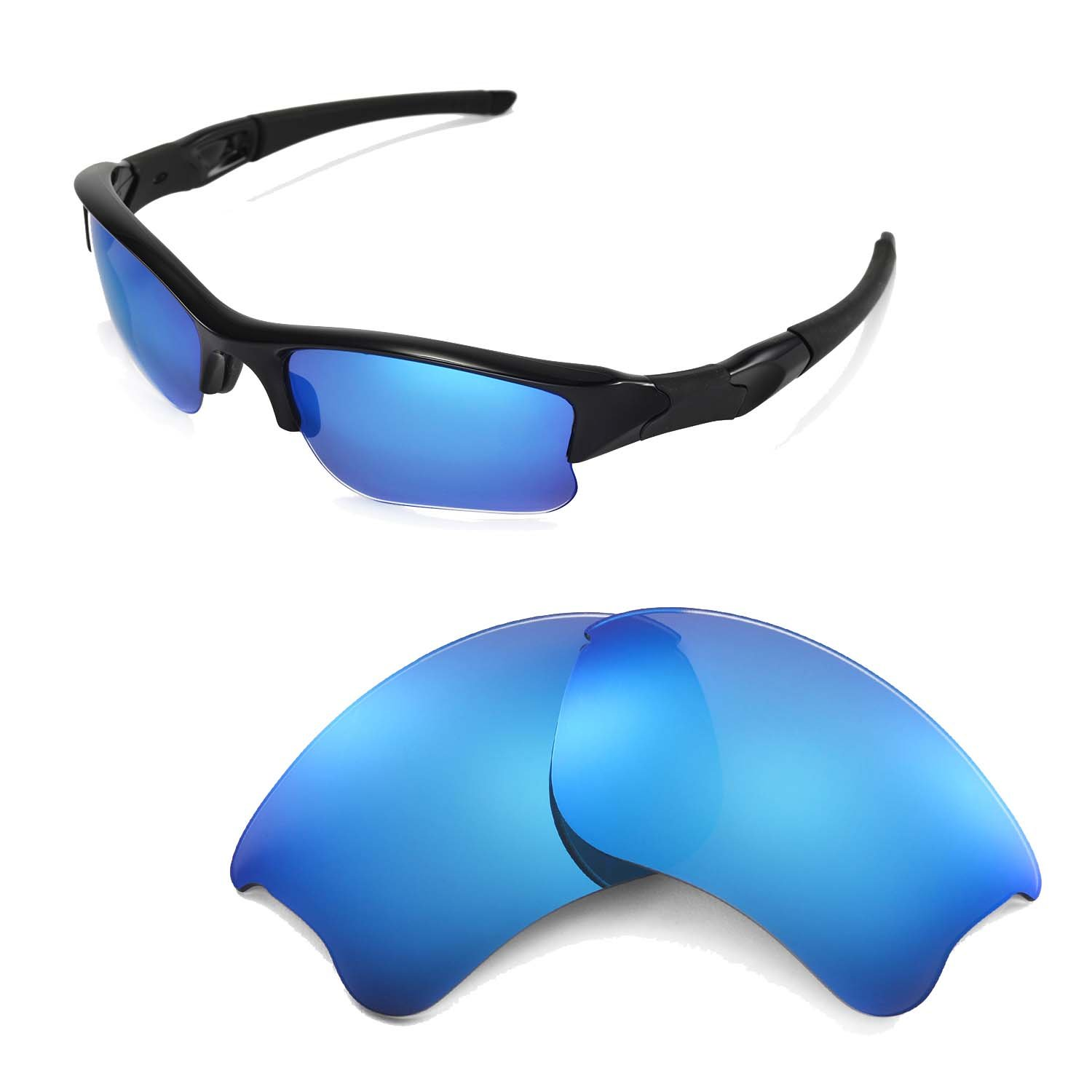 Walleva Replacement Lenses for Oakley Flak Jacket XLJ Sunglasses - Multiple Options Available (Ice Blue Coated - Polarized) by Walleva
