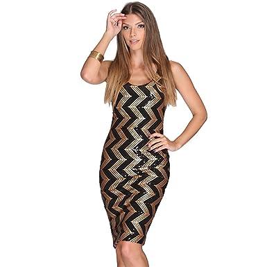 c7575238d COCO clothing Lápiz Vestido de Noche para Mujer Sin Tirantes Rayas  Lentejuelas Cuello Redondo Bodycon por