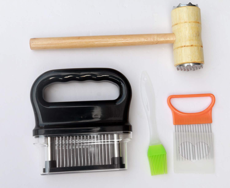 48 Stainless Razor sharp Steel Needle Blade For Tenderizing,BBQ,Steak,With Tenderizer Hammer Meat Tenderizer Pastry Brushes /& Onion Slicer Holder Voulosimi