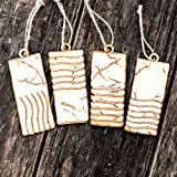 Ornament - Elemental Stones - Set of 4 - Raw Wood 2x4in