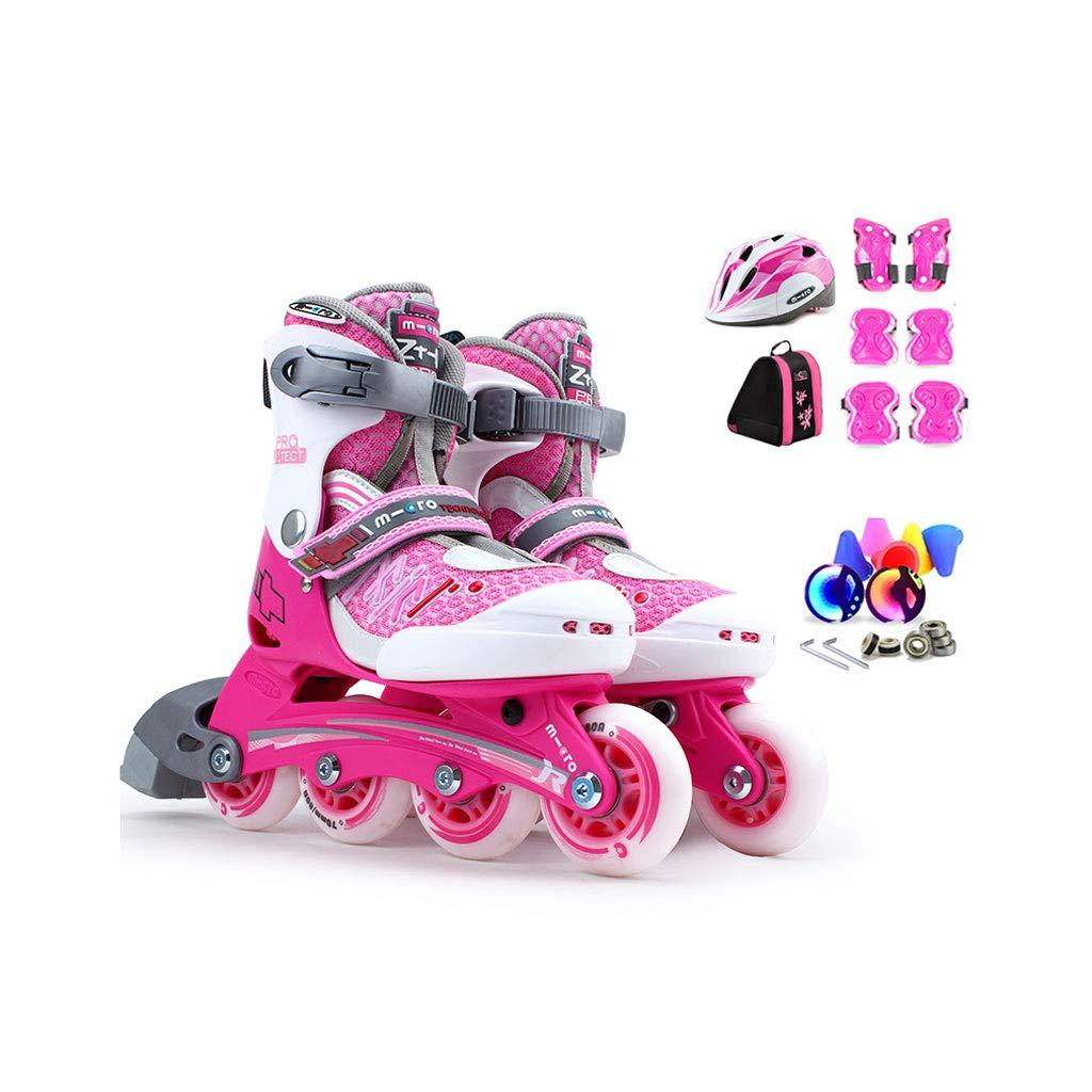 ailj インラインスケート、子供用スピードスケート、フルセットのローラースケート、調整可能なスケート(3色) (色 : Pink, サイズ さいず : S (27-30 yards) 3-6 years old) B07JJB8VSV L (35-38) 11 years old or older|Pink Pink L (35-38) 11 years old or older