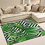 ALAZA Summer Exotic Jungle Tropical Palm Tree Leaves Area Rug Rugs for Living Room Bedroom 7′ x 5′ For Sale