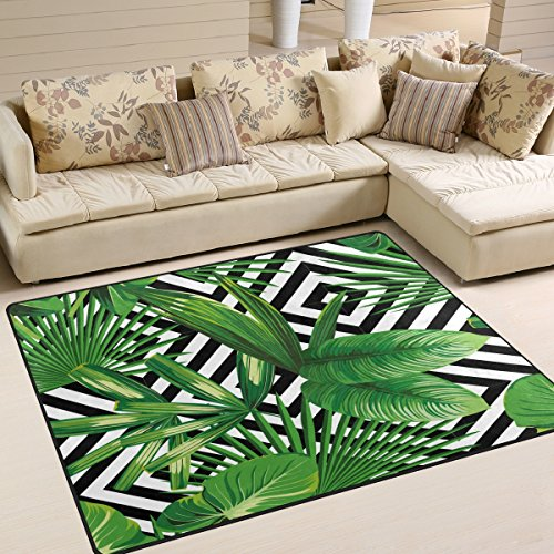 (ALAZA Summer Exotic Jungle Tropical Palm Tree Leaves Area Rug Rugs for Living Room Bedroom 5'3 x 4')