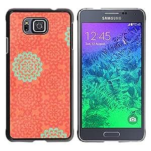TopCaseStore / la caja del caucho duro de la cubierta de protección de la piel - Wallpaper Pattern Orange Teal - Samsung GALAXY ALPHA G850
