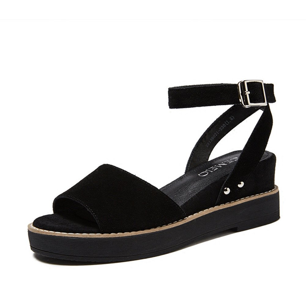 XZGC Cuero Verano Peep-Toe Sandalias De Plataforma De Tacón Alto De Calzado Casual De Cuña 37 EU|Negro