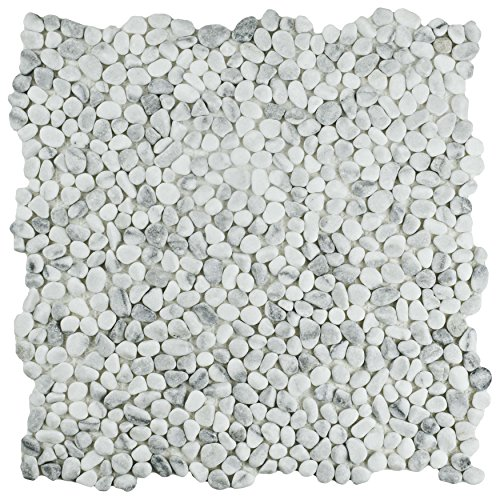 SomerTile PGYPWS Caillou Pebble Stone Mosaic Floor and Wall Tile, 12.25