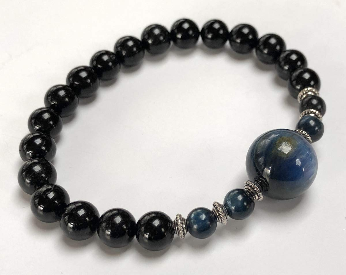Genuine Natural Black Tourmaline Mala Beads Bracelet    8 mm Tourmaline    Black Tourmaline Jewelry (8 mm Black Tourmaline and 8 mm Kyanite Mala Beads Bracelet) by AWAKEN YOUR KUNDALINI (Image #4)
