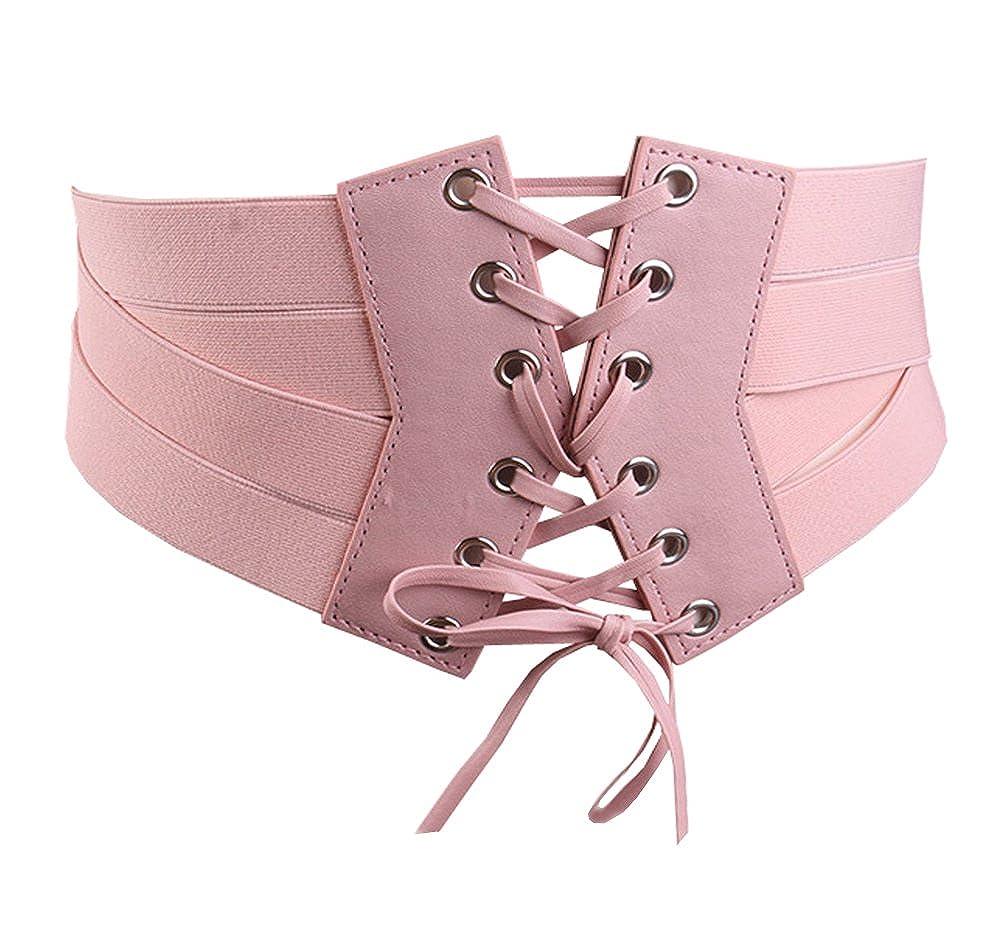 Aecibzo Women's Elastic Stretch Wide Band Waspie Corset Waist Belt
