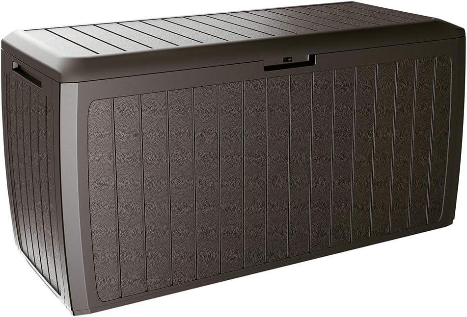 Deuba Baúl de Almacenamiento Board Plus marrón para Exterior e Interior arcón de almacenaje Accesorios cojínes jardín