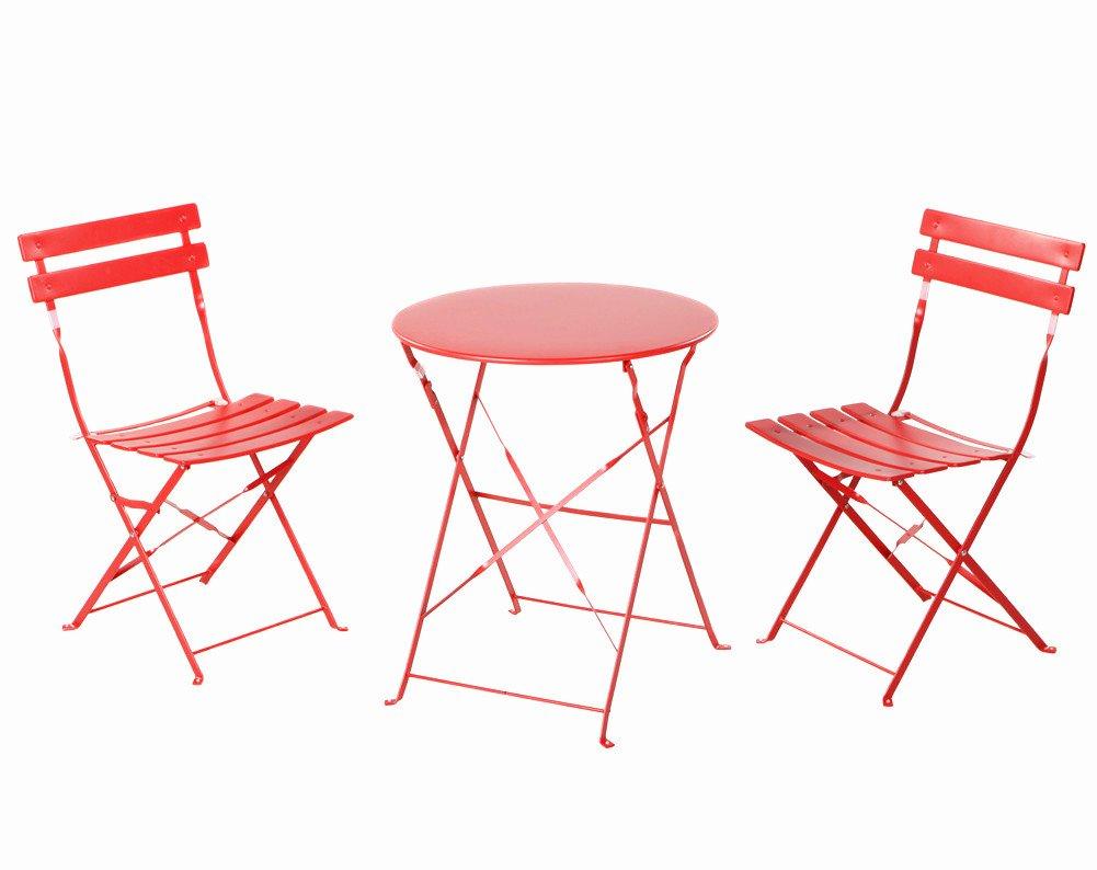 Grand Patio Set Tavolo e Sedie per stare all'aperto, 3 pezzi (2 sedie + 1 tavolo) con Tavolo Bistrò-Style e set di Sedie, Rosso