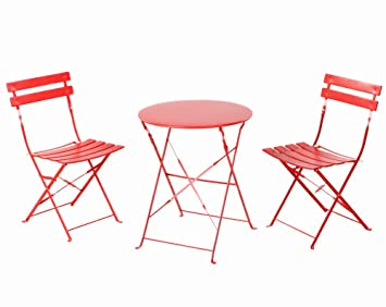 grand patio set de table chaises pliantes extrieur idal balcon jardin en acier inoxydable - Table Et Chaise Exterieur