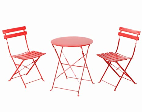 Grand Patio Conjunto de Mesa y sillas Plegables para Exterior, Ideal para balcón o jardín, de Acero Inoxidable (1pc Mesa + 2pcs Sillas), Rojo