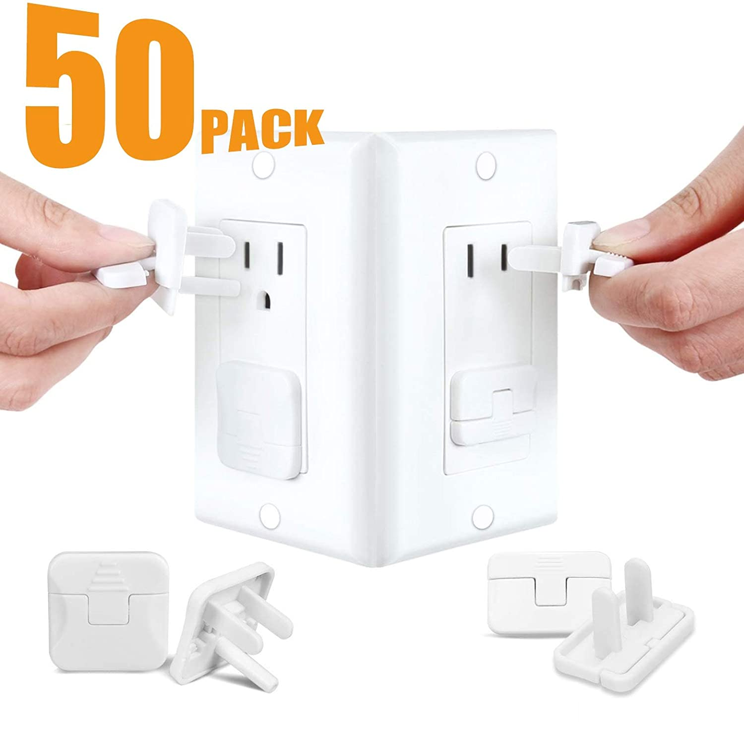 Babepai Outlet Plugs Covers Baby Proofing Electrical Child Protector Safety Caps Wall Plug Socket Covers for US 3-Prong and 2-Prong Durable Accidental Shock Hazard Prevention Guards 50 Pack White