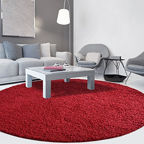 iCustomRug Cozy Soft And Plush Pile, (4' Diameter) Round Shag Area Rug In Red - Round Red Shag Rug