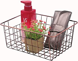 Metal Wire Storage Basket for Kitchen Food, Pantry, Papers, Decorated Organizer for Home Office, Desk Shelf Bathroom Laundry Room Shelf Bedroom Bed Room, Oil Rubbed Bronze, L11in X W 8.5in x H 4.7 in