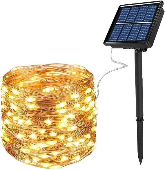 LED Fairy String Lights Solarbetriebene Gartenparty Freien im Rasenleuchten A5U9