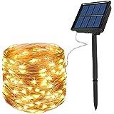 Cadena Luces Solares 200 LED 8 Modos, Ankway 22M 3 Hilos de Alambre de Cobre IP65 Impermeable Guirnalda Luces Solares…