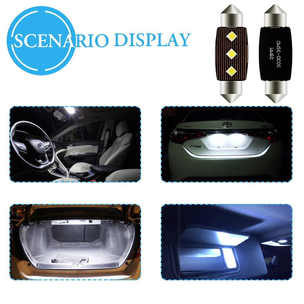 Grandview 4pcs Blanco 31MM C5W Canbus Bombillas LED con 2-3030-SMD 6411 6413 6418 C5W Bombillas LED Para el Interior del Autom/óvil Mapa de la C/úpula Luces de la Placa de Matr/ícula de Cortes/ía
