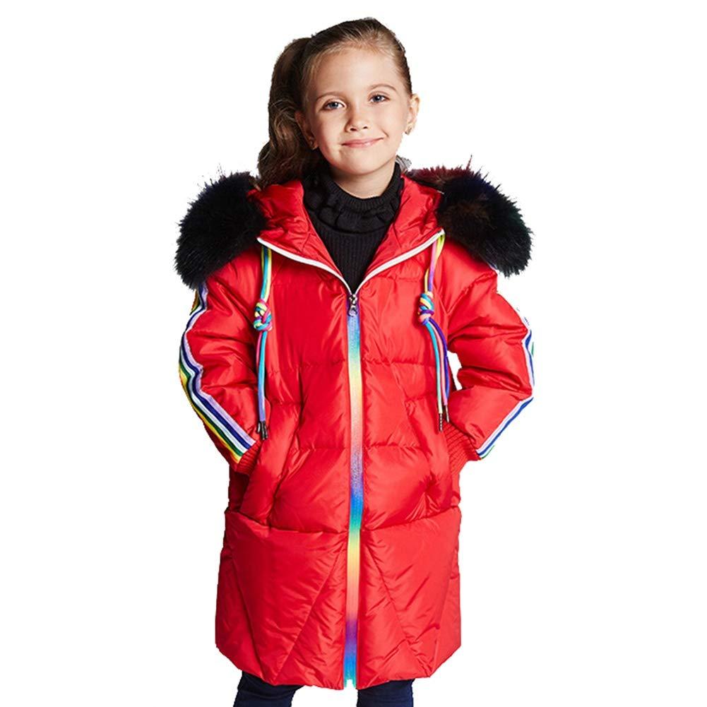 rouge 140cm YZ-HODC Enfants Filles Manteau Chaud Veste en Duvet à Capuche Coupe-Vent léger épaissir Outwear, Parfait pour l'hiver Froid