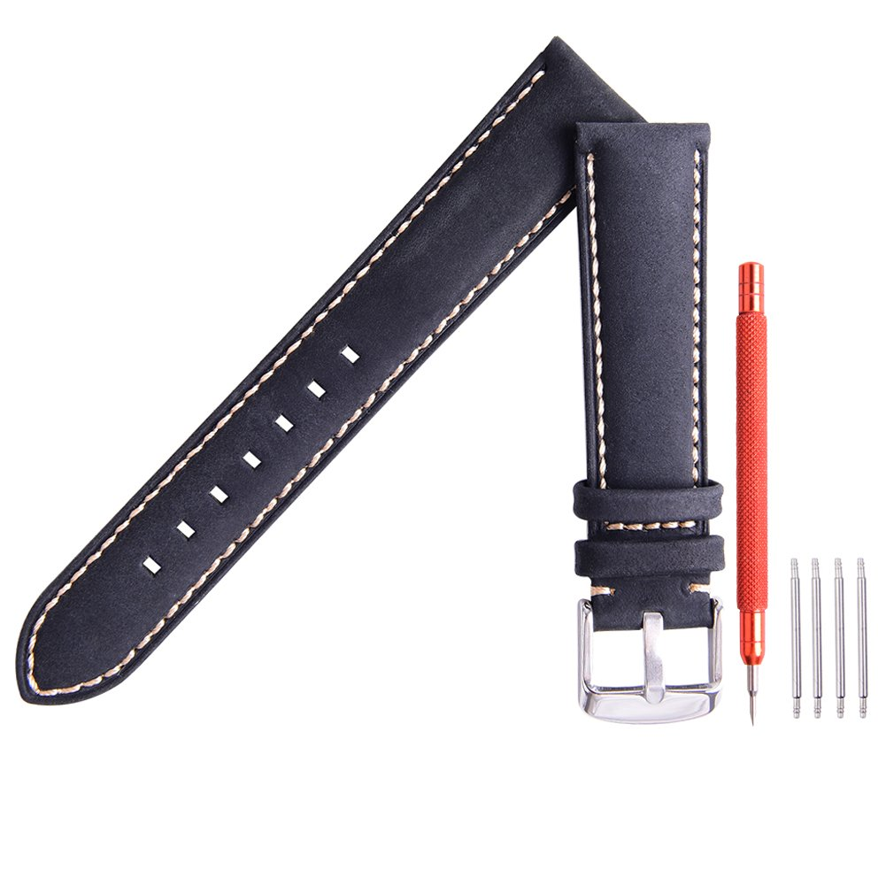 Ritche Leather strap Replacement Watch Bands Straps 22mm-Black