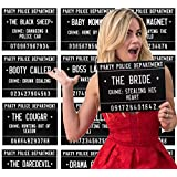 40 Unique Crimes on Fun Bachelorette Party Mugshots! Game and Activity instructions included! These Photobooth Prop mugshots are also a great idea for Birthdays, Girls Night Out, Stagettes, NYE, Hen Parties, Gift,Party supplies!