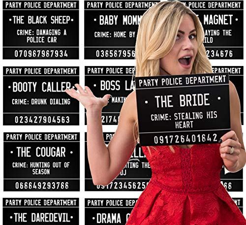 40 Unique Crimes on 20 Bachelorette Party Mugshot Signs! Game and Activity instructions included! These Photobooth Props are also a great idea for Birthdays, Girls Night Out, Stagettes and NYE!]()