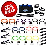 Bodylastics 31 pcs Resistance Bands Set *MEGA RESISTANCE with 14 Stackable anti-snap exercise tubes, Heavy Duty components, Large gym bag and printed instructions for the top muscle building exercises.