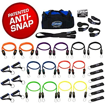 SUPER HEAVY 31 PCS PREMIUM Resistance Bands Set by Bodylastics. Includes 14 Best Quality ANTI-SNAP bands, heavy Duty Components: Anchors/Handles/Ankle Straps, and exercise training resources