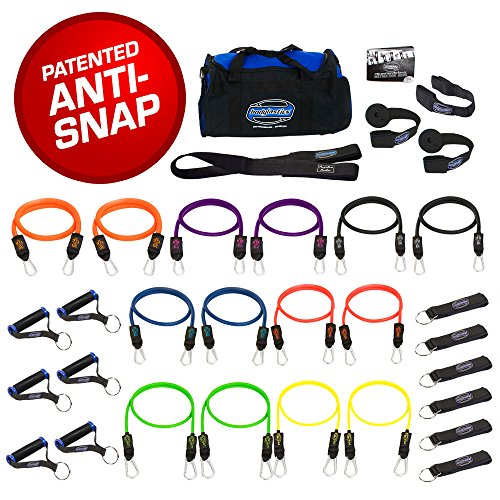 SUPER HEAVY 31 PCS PREMIUM Resistance Bands Set by Bodylastics. Includes 14 Best Quality ANTI-SNAP bands, heavy Duty Components: Anchors/Handles/Ankle Straps, and exercise training resources. by Bodylastics