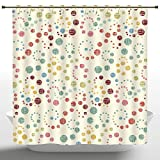 Polka Dot Shower Curtain Funky Shower Curtain by iPrint,Modern Art Home Decor,Grunge Polka Dots Spots Backdrop Motif Retro Nostalgic Aesthetic Image,Multi,Polyester Bathroom Accessories Home Decoration