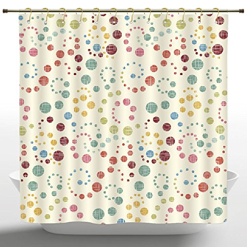Funky Shower Curtain by iPrint,Modern Art Home Decor,Grunge Polka Dots Spots Backdrop Motif Retro Nostalgic Aesthetic Image,Multi,Polyester Bathroom Accessories Home Decoration