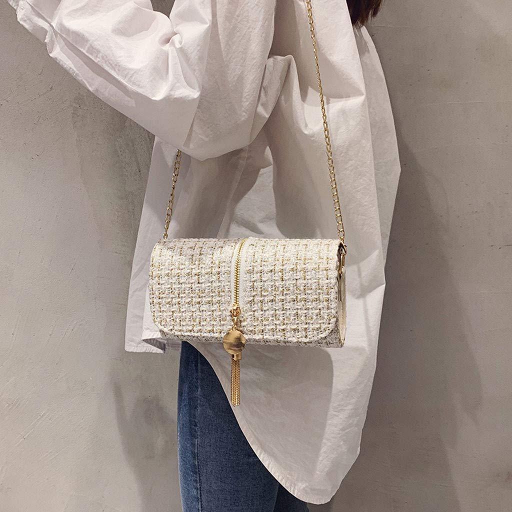 Makeupstory Purses and Handbags,Straw Bag,Women's Fashion Solid Color Square Bag Shoulder Bag Tassel Diagonal Package White by Makeupstory (Image #3)