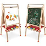 Arkmiido Kids Easel Double-Sided Whiteboard & Chalkboard Standing Easel with Bonus Magnetics, Numbers and Other…