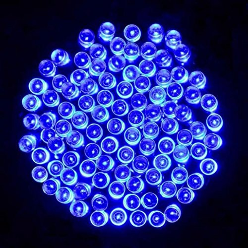 20.4 M 200 LED Solar Lamps String Christmas Wreaths Wedding Decoration Light,DIY Window Curtain Lights,Waterproof (IP44),Tuscom (Blue)