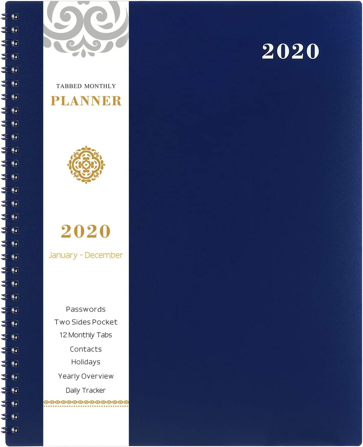 """2020 Monthly Planner - 12-Month Calendar Planner with Tabs & Pocket & Label, Contacts and Passwords, 8.5"""" x 11"""", Thick Paper, January - December 2020, Twin-Wire Binding - Navy Blue by Artfan"""