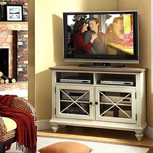 Riverside Furniture Coventry Two Tone Corner TV Console in Dover White