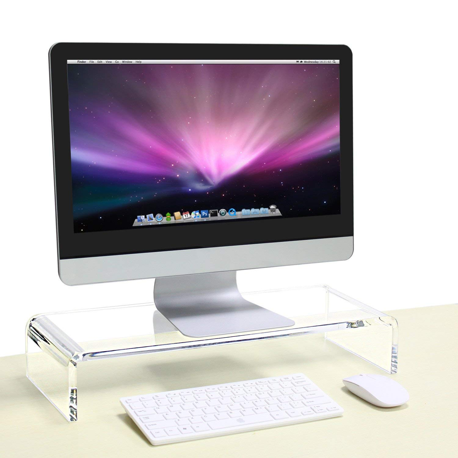 Niubee (Set of 2) Heavy Duty Acrylic Monitor Riser Stand, Clear Plastic Computer Stand for Home Office Shop, Desktop Riser Stand for Computer Laptop Printer TV Screen Keyboata