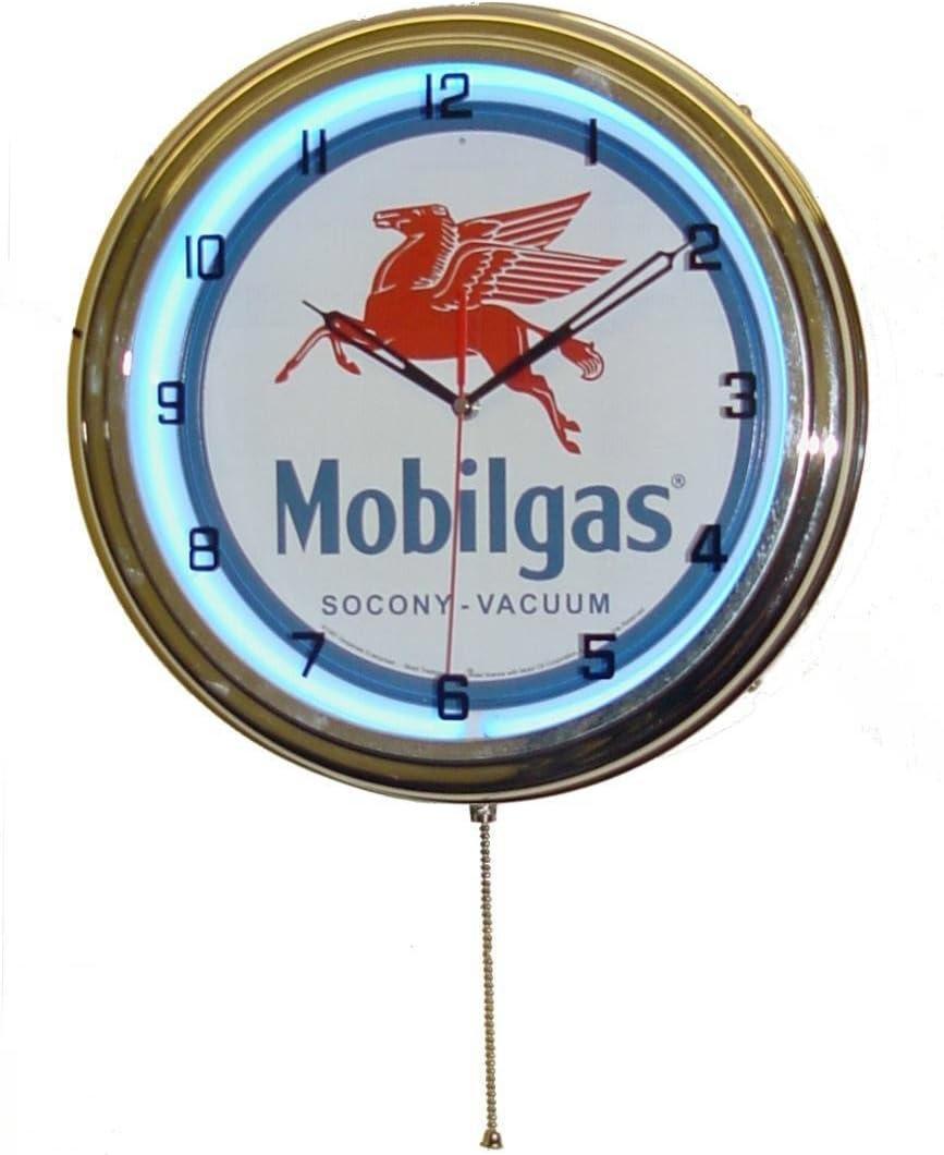 "Mobil Mobilgas Large 15"" Single Neon Wall Clock w/Metal Sign Flying Red Horse Pegasus"