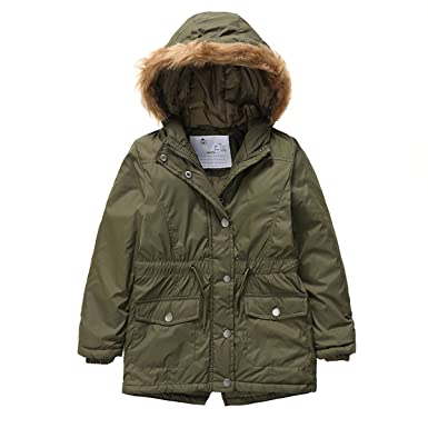 8fe1291c1 Amazon.com  PHIBEE Girls  Cotton Winter Windproof Faux Fur Hooded ...