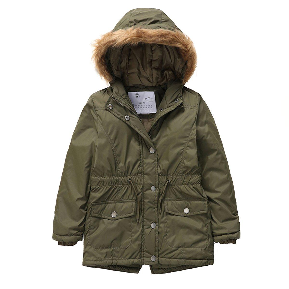 PHIBEE Girls' Cotton Winter Windproof Faux Fur Hooded Parka Jacket Army Green 12