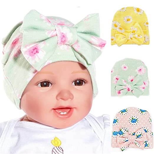 1c208ebe861 Ademoo Newborn Hospital Hat Baby Girls Nursery Beanie Cap with Floral Bow  (Bow 3 Pack